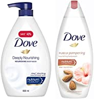 Dove Deeply Nourishing Body Wash, 800 ml & Dove Almond Cream and Hibiscus Body Wash, 190ml