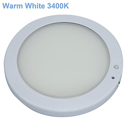 Facon 5inch 12V Runde LED Helle Decken-Wand-Helle Innenbeleuchtung mit An- / Aus-Schalter und Blauem Indikator für RV / Wohnwagen / Anhänger / Boot / Fahrzeuge (Warmweiß) (Boot Blauen Led-leuchten)