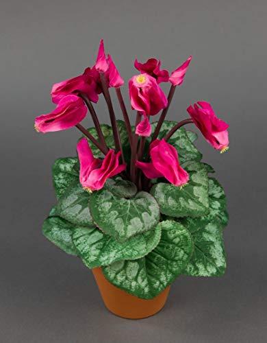 Seidenblumen Roß Alpenveilchen 28cm pink im Topf NT künstliche Blumen Kunstpflanzen Kunstblumen Cyclamen Cyclame