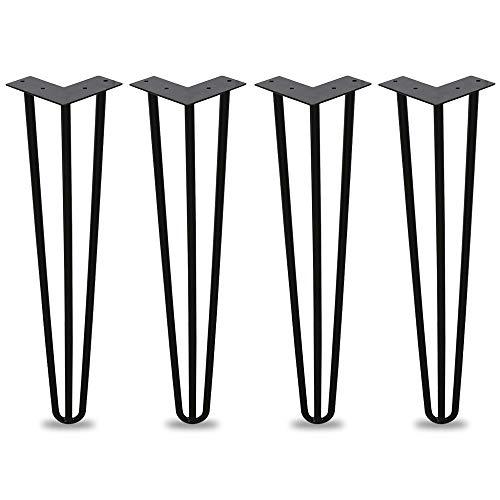 Preisvergleich Produktbild 4er Hairpin Legs Schreibtisch Tischbeine Austauschbare Haarnadelbeine Tischgestell 30cm mit Doppelstab Bodenschoner und Schrauben Verfügbar in Höhe von 15cm-72cm