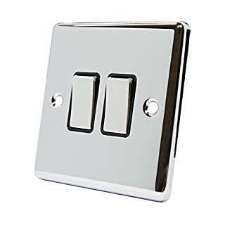 Light Switch 2 Gang Polished Chrome Classic - Black Insert - Metal Rocker Switches - 10A 2 Gang 2 Way