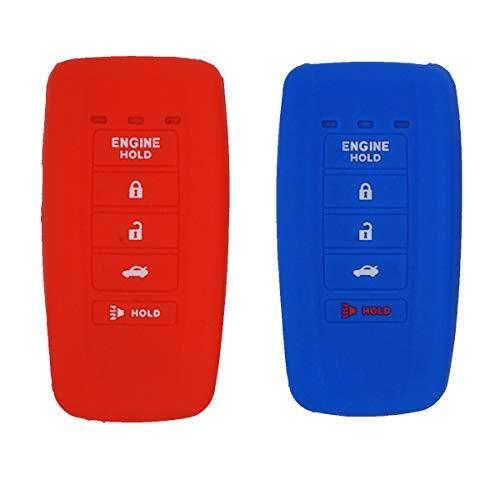 Royalfox(TM) 2 Stück 5 Tasten Soft Silikon Smart Keyless Remote Key Fob Case Cover for 2019 2018 2017 Acura MDX RDX RLX ILX TLX KR537924100 (mit Motorhalterung), blau/rot (Mdx Acura)