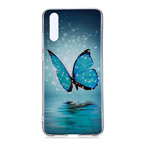 Huawei P20 Pro TPU Case,Ultra Thin Luminous Flexible Silicone Cover for Huawei P20 Pro,Case for Huawei P20 Pro,Night-luminous Cute 3D Romantic Flower Animal Cartoon Design Printed Drawing Pattern Soft TPU Bumper Protective Back Cover Case for Huawei P20 Pro