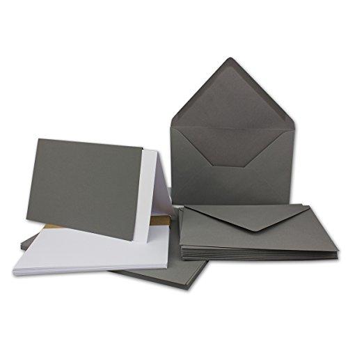 50x DIN B6 Faltkarten-Set - Graphit-Grau - 115 x 170 mm - 11,5 x 17 cm - Doppelkarten mit Umschlägen und Einleger-Papier - FarbenFroh by GUSTAV NEUSER®