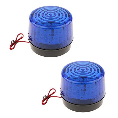Sharplace 2 Stück Runde Vorsicht Warnung Licht Lampe Verkehrsalarm Warnlichter Alarmlampe Blinkfrequenz: 90 mal/min -Blau