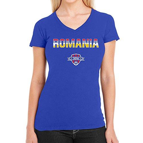 Romania Rumänien Fussball Euro 2016 EM Fanshirt Damen T-Shirt V-Ausschnitt Blau
