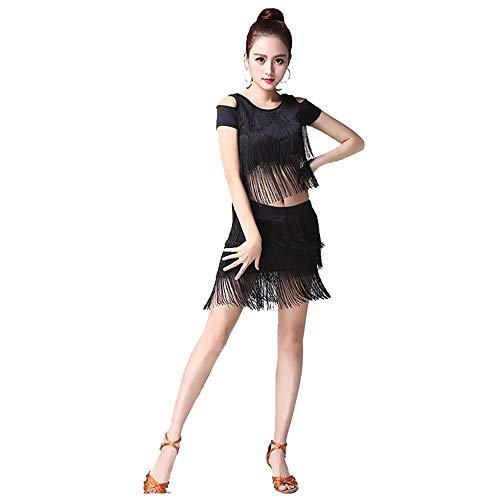 Damen Cocktail Abendkleid Frauen Quaste Latin Dance Dress Outfit Kurzarm Kaltes Schulter-Top mit Tanzrock Tango Rumba Ballroom Performance Dancewear Wettbewerb Kostüme Mini-Tanzkleid Kostüm Kleid