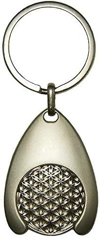 EnerChrom Blume des Lebens Schlüsselanhänger, silber, Einkaufswagen-Chip - Glücksbringer