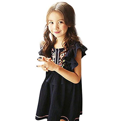 (JUTOO Kinder Kid Girls Sleveeless Stickerei Floral Rüschen Wave Princess Button Dress Clothes (Dunkelblau,110))
