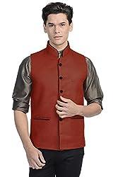 Vastraa Fusion Mens Blended Bandhgala Festive Brown Nehru Jacket / Waistcoat