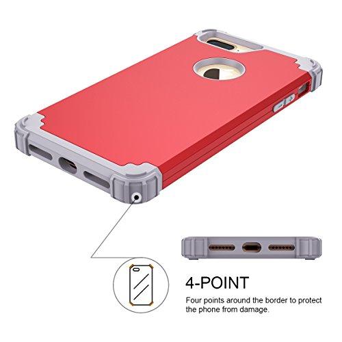 WE LOVE CASE iPhone 7 Plus Coque, Étui de Protection en Premium Hard Plastique Dur Housse Mince et Clair, 2 in 1 Bumper Anti-Rayures Cas Couverture Anti-dérapante Coque pour Apple iPhone 7 Plus - Viol rouge