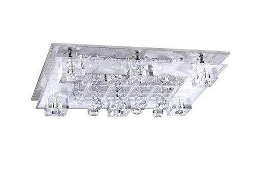 LED Deckenstrahler 8 flammig Deckenleuchte Schlafzimmer Lampe Farbwechsel Fernbedienung (Deckenlicht, Deckenlampe, Wohnzimmer Leuchte, Kristall, 66 x 45 cm, Halogen Leuchtmittel 8 x 20 Watt, warmweiß)