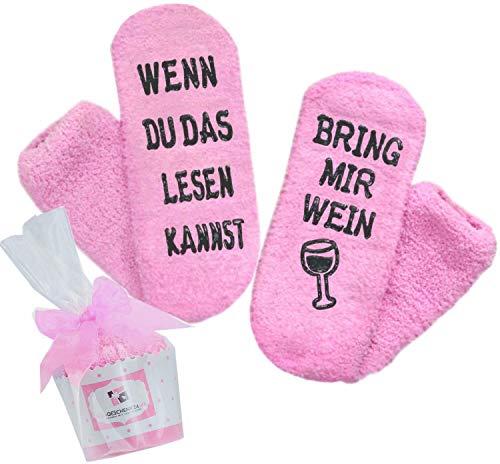 Dilara Weinsocken - Wenn du das lesen kannst bring mir ein Glas Wein - Lustige Geschenkidee für Wein Socken (Deutsch)