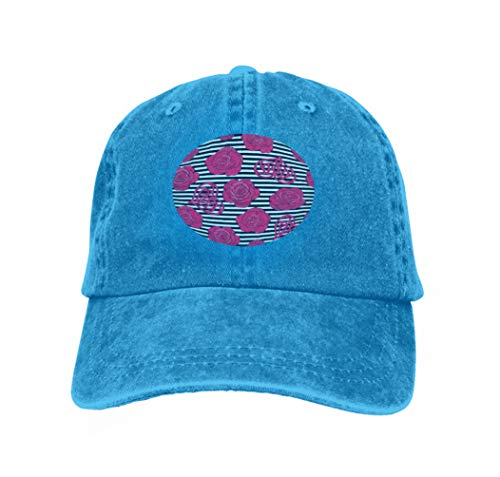 Unisex Style Strapback Hat Baseball Cap Blue Roses Love Heart Background wit Black White Stripes stoc Blue -