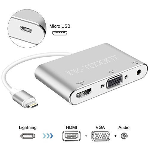 Lightning – Digitaler AV-Adapter, ink-topoint Lightning auf HDMI & VGA & Audio Video Conversion Adapter mit Micro USB Ladekabel für Apple iPhone - Digital Audio-kabel Av