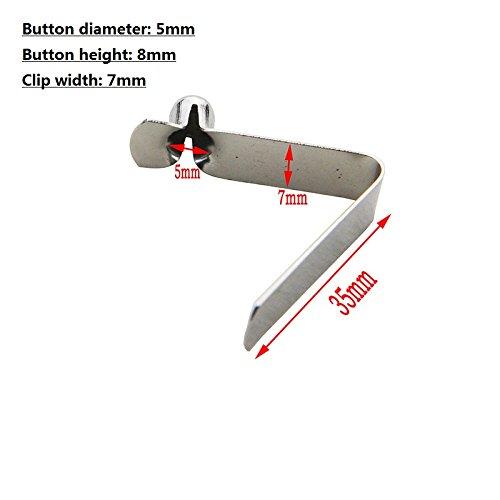 50?Single Button Clips Kajak Paddel Snap Spring Clip Zeltstange Clips(Button diameter 5mm single pin) (Spring Snap Steel)