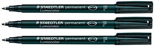 Staedtler Lumocolor Permanentmarker, Fein, Schwarz, 3 Stück, wasserfest, schnelltrocknend, kein...