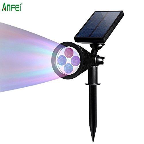 LED Spotlight solare lampada da parete per esterni, anfei impermeabile, 180° Angolo Regolabile, Auto-On di notte/Auto-Off per albero di Natale, per Patio, Deck, Cortile, Giardino, Driveway, scale.
