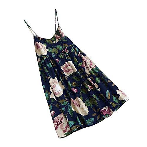 iYmitz Sommer Heißer Minikleid Damen Beiläufige Blumen Drucken Strandkleid Party Kurze Ärmel Kleid Plus Größe Sommerkleid T-Shirts Tanktop(X2-Blau,EU-48/CN-4XL)