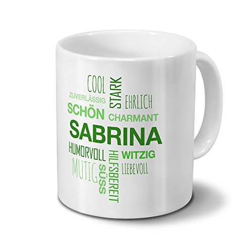 Tasse mit Namen Sabrina Positive Eigenschaften Tagcloud - Grün - Namenstasse, Kaffeebecher, Mug, Becher, Kaffeetasse