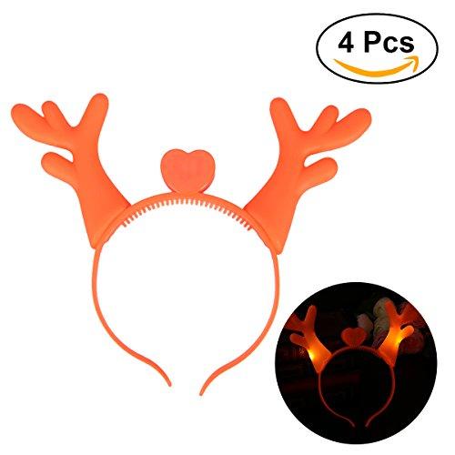 Tinksky Led Reindeer Geweih Stirnband Haarband Kopfschmuck für Weihnachten Kostüm Party Dekoration 4pcs (Orange)