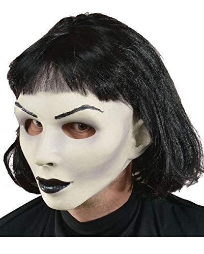 Horror-Shop Gothic Girl Frauenmaske aus Softlatex mit schwarzer Perücke -