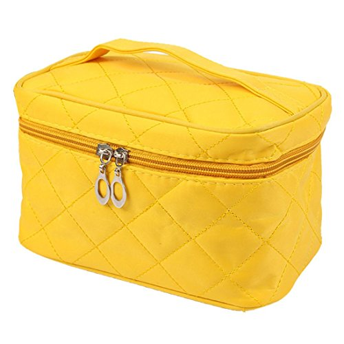 Fulltime® Imperméable Femmes Place Case grain de Pure Color Cosmetic Bag jaune