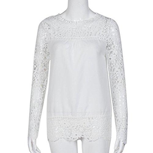 BaZhaHei Blouse, Camisa de Manga Larga para Mujer Tops Blusa de Encaje Casual Blusa de algodón Suelta del Mujer Moda Camisetas Mujer de chifón de Encaje con Flores a Cielo Abierto Casual Shirt Mujer