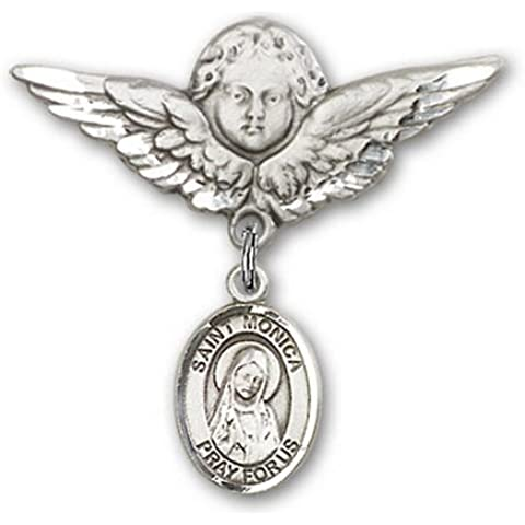 Icecarats Designer Di Gioielli In Argento Sterling St. Monica Fascino Angelo Pin Distintivo 1 1/8 X 1 1/8