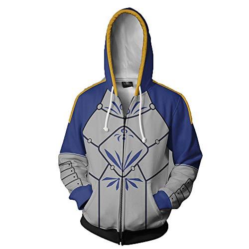Strickjacken & Sweatshirts Männliche Und Weibliche Schicksals-Serie Sanitärkleidung 3D-Sanitärkleidung Offene Oberteile Und Hoodies Cosplay-Animation Blau 2XL