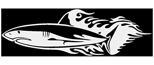 Samunshi® Folienaufkleber weißer Hai seitlich Motiv 632 in 7 Größen und 25 Farben (80x24cm hellgrau)