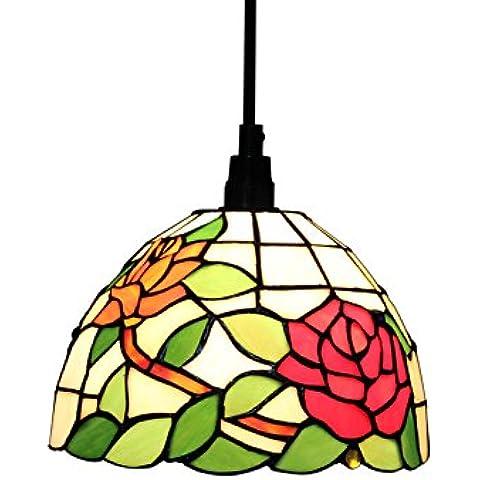 Luz Gweat Tiffany 8 pulgadas Pastoral Estilo del vitral de la serie Rose luz de techo lámpara colgante Comedor