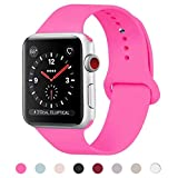 HILIMNY Cinturino Per Apple Watch 38MM, Morbido Silicone Cinturini Per iWatch Apple Serie 3, Serie 2, Serie 1, Nike+, Hermès, Edition (Barbie Pink, 38MM-SM)