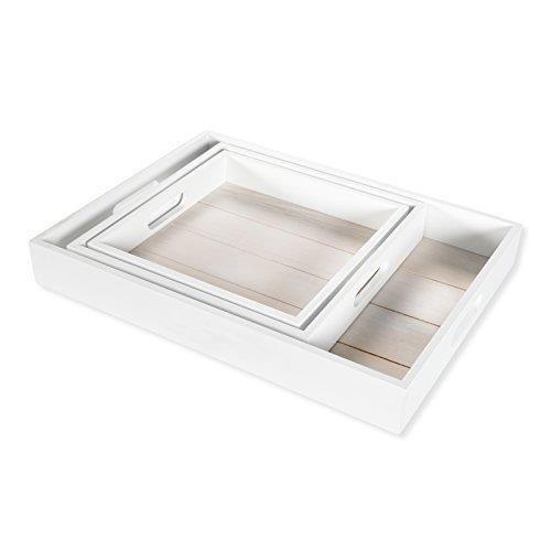 (DRULINE Dekotablett Holztablett Tablett Holz Serviertablett Shabby Chic 3er Set - K 24 x 24 cm/M 27 x 27 cm/G 40 x 30 cm)