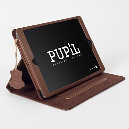 iPad Air (1 & 2) Case Hülle. PUPiL of Cambridge, England. Handgefertigte Aus Echtem Leder Mit Standfunktion Und Voll Kompatibel Mit Der Smart Sleep-Funktion. (Dunkelbraun - Coco)