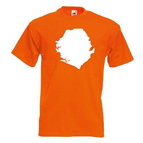 Orange Banana Sitz (Kiwistar Sierra Leone Umriss Kontur T-Shirt in 15 Verschiedenen Farben - Herren Funshirt Bedruckt Design Sprüche Spruch Motive Oberteil Baumwolle Print Größe S M L XL XXL)