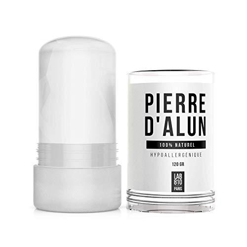 Lab810: pietra di allume in stick 120g - deodorante efficace 100% organico e naturale - certificato senza additivi e senza parabene o cloruro di alluminio (2 * 120gr)