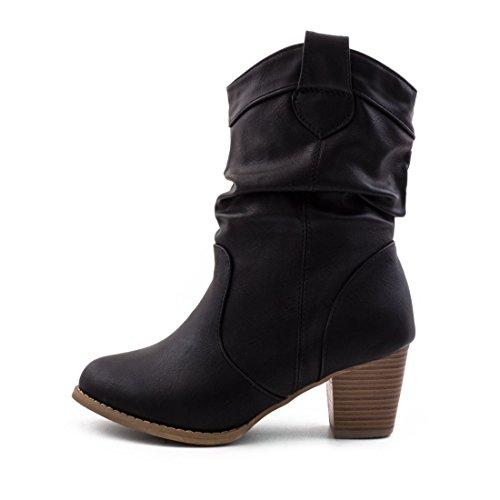 Damen Stiefel Stiefeletten Western Biker Boots Lederoptik Camel