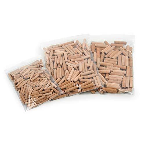 Holzdübel | Riffelholzdübel 500er Packung | Dübel aus Buche | Ideal geeignet für Dübelfräse & Lamellofräse (Set 6 8 10 mm)