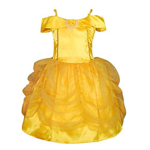 Angel Kostüm Gold - Lito Angels Mädchen Prinzessin Belle Kleid Kostüm Weihnachten Halloween Party Verkleidung Karneval Cosplay Kinder 8-9 Jahre Gold