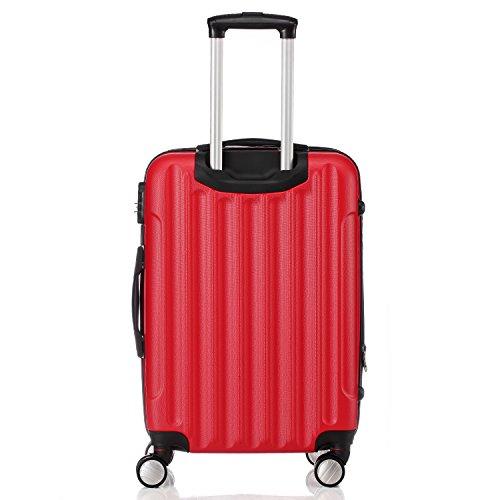 Zwillingsrollen 2050 Hartschale Trolley Koffer Reisekoffer in M-L-XL-Set in 12 Farben (M, Rot) - 2