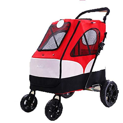 MOIMK Haustier-Buggy, Trolley, Trailer, Buggy Komfort Mit Airfilled Reifen. Zusammenklappbar Pet Buggy, Kinderwagen, Kinderwagen Für Hunde Und Katzen,Red