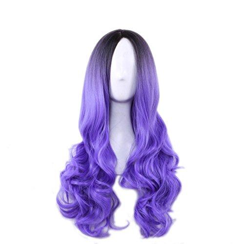 lzn Ombre Wavy Lila Perücke Lockig Perücken 78CM Cosplay Haar Damen Mädchen Perücke für (Mädchen Lila Perücke)