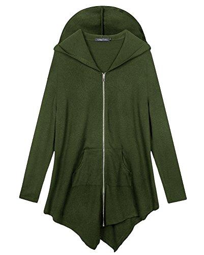 Urbancoco Damen Lose Zip Hooded Sweatshirt Jacke (2XL, Army (Kostüme Grüne Haut)