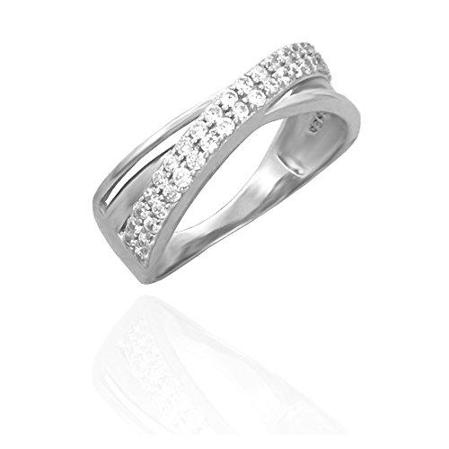 Sofia Band (SOFIA MILANI Damen-Ring Bandring / Wickelring Gedreht / Geschwungen Breit 925 Sterling-Silber mit 42 Zirkonia Steinen + Geschenkbox - 10099 (60 (19.1)))