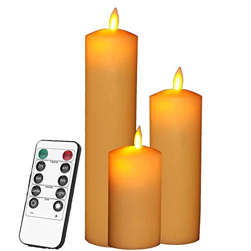 smtyle LED Kerzen mit beweglicher Flamme - Echt Flammen Effekt LED Echtwachskerzen mit 10 Key Fernbedienung und Timer [Ein scharfer Punkt, Elfenbeinfarbe] - 3er Pack