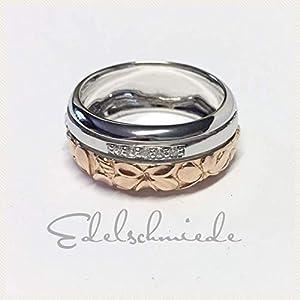 floraler Silberring bicolor 925/- Silber rhod mit Zirkonia #61