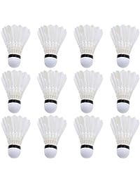 LIOOBO 12 Piezas Bolas de bádminton de Plumas Volantes de Entrenamiento Deportivo Volantes de bádminton Blanco Que juegan Volantes de Plumas para Actividades Escolares en el hogar