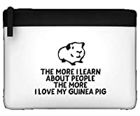 The More I Learn About People The More I Love My Guinea Pig Person Animal Lover Pets Funny Flat Pencil Case - BLACK