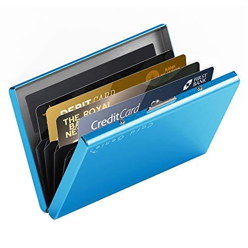 hochwertiges Edelstahl Kartenetui | Ideal als Kreditkarten & Visitenkarten Etuis, RFID Blocker, Kreditkartenetui, Slim Wallet, Visitenkartenetui, Mini Geldbörse | Card Genie Herren & Damen Etui Klein - Aluminium-sicherheits-geldbörse